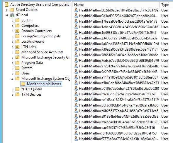 Exchange 2013 Monitoring Mailboxes (ADUC)
